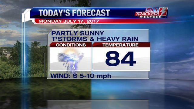 A cloudy, hot and humid Sunday with a 60% rain chance