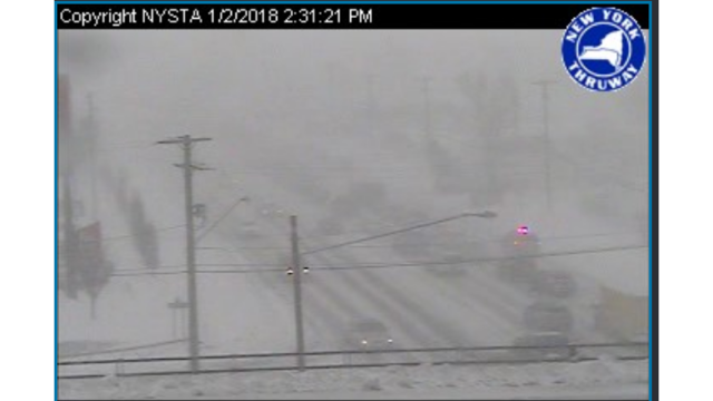 Almost mile-long crash on Thruway, blizzard warning persists