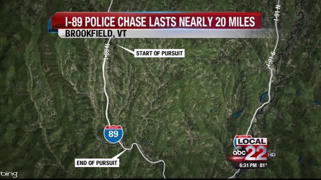 Barre Man arrested for Police Chase on I-89